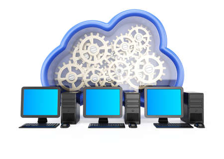 Cloud computing concept isolated on white background  3d rendering illustration illustration