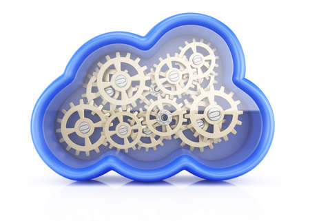 Cloud with cogwheels isolated on white background  3d rendering illustration illustration