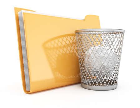 wastepaper basket: Cartella e cestino per la carta isolato su sfondo bianco rendering 3D illustrazione Archivio Fotografico