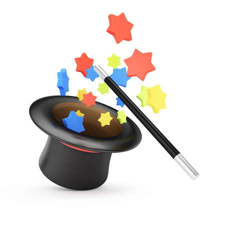 Magic wand and hat with colored stars isolated on white background  3d rendering illustration