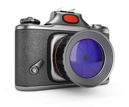 SLR camera isolated on white backgrpound  3d rendering illustration Stock Photo