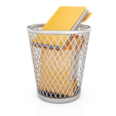 wastepaper basket: Wastepaper basket with folders isolated on white background  3d rendering illustration
