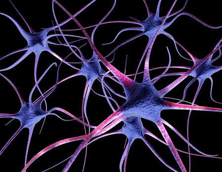 上のニューロン ブラック 3 d レンダリング図