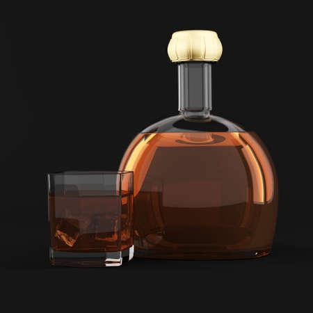 botella de whisky: Botella de whisky y vidrio sobre fondo oscuro representación 3d ilustración