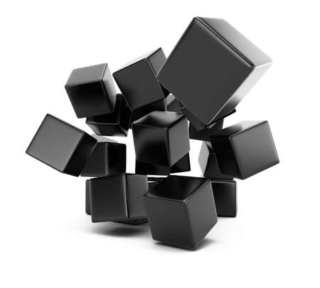 falling cubes: Falling cubes isolated on white background  3d rendering image