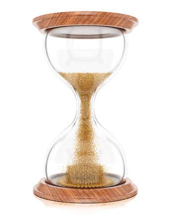白い背景 3 d レンダリング画像に分離された砂時計