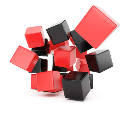 falling cubes: Black and red falling cubes isolated on white background  3d rendering image Stock Photo