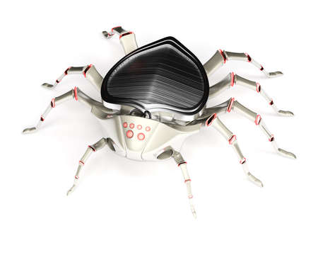 arachnids: Cyber spider isolated on white background  3d rendering image
