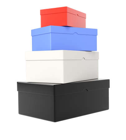 Heap of colored  shoeboxes isolated on white background  3d rendering image photo