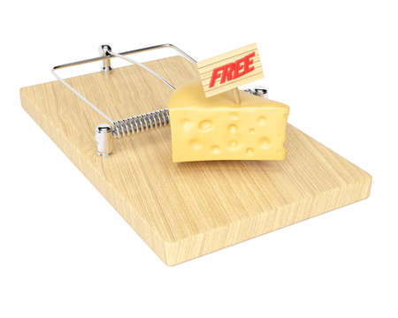 Mousetrap with free cheese isolated on white background. 3d rendering image