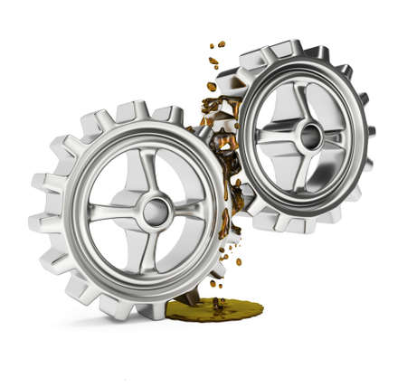 grease: Gears with grease isolated on white background. 3d render Stock Photo