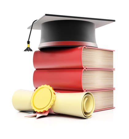 Stack of books with graduation cap and diploma isolated on white background. 3d render Stockfoto