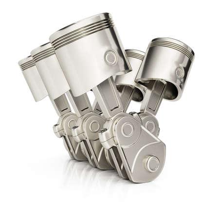 cilindro: Pistones del motor V6 aislados sobre fondo blanco. 3d Foto de archivo