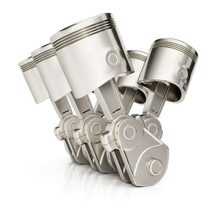 V6 engine pistons isolated on white background. 3d render Imagens