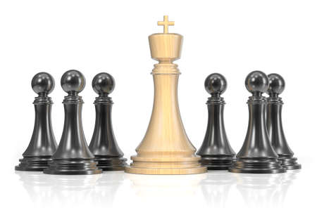 Chess king and pawns isolated on white background. 3d render photo