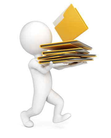 3D man with stack of folders isolated on whire background. Paperwork concept.