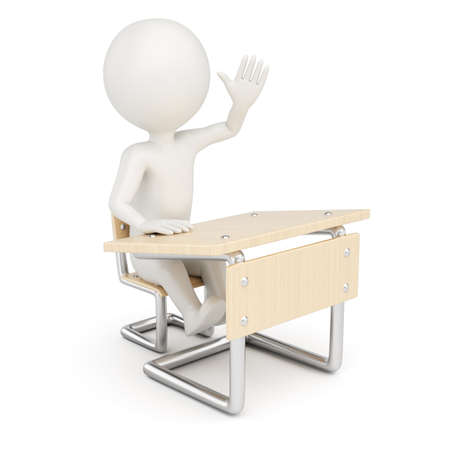 3D man sitting behind school desk isolated on white background photo