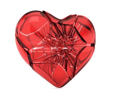 Broken glass heart  heart isolated on white background. 3d render