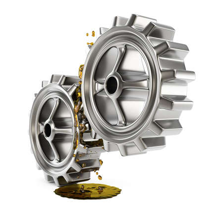 Lubricated gears isolated on white background. 3d render