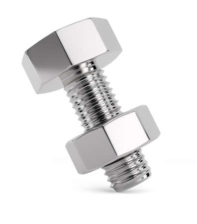 bolts: Bolt with nut isolated on white background. 3d render