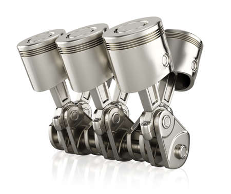 Engine pistons isolated on white background. 3d render Stock Photo