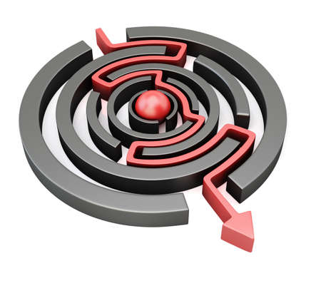 Red arrow crossing circular maze isolated on white background. 3d render