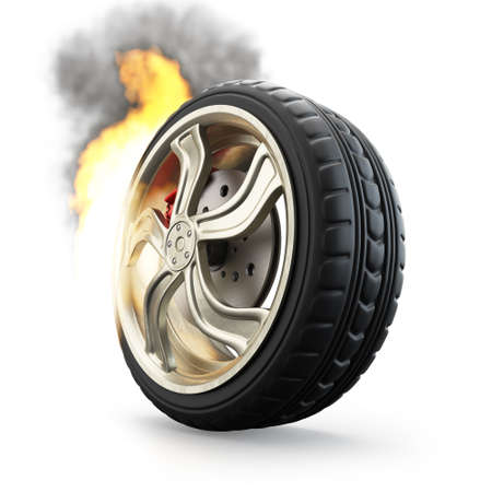 Burning wheel isolated on white background. 3d render
