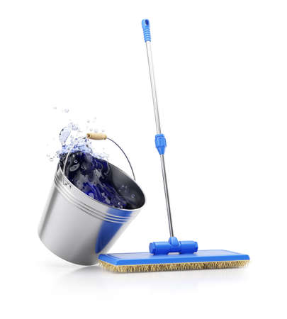 broom handle: Mop and bucket isolated on white background. Cleaning concept. 3d render Stock Photo