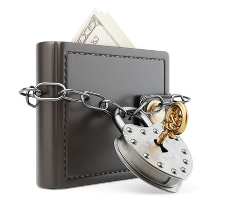 chaining: Wallet with chain and padlock isolated on white. 3d render