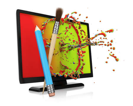 computer art: Computer monitor with colorful splash isolated on white. Digital art concept. 3d render