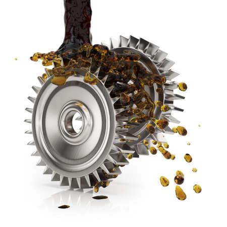 greasing: Engrase ruedas dentadas aisladas en blanco. 3d Foto de archivo