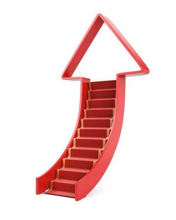 Ladder up concept isolated on white. 3d render Stock Photo