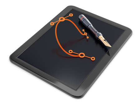 bezier: Graphic tablet with pen and bezier curve isolated on white. 3d render Stock Photo