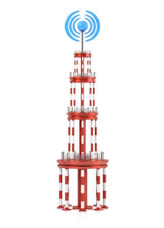 transmitter: Transmitter tower isolated on white background. 3d render