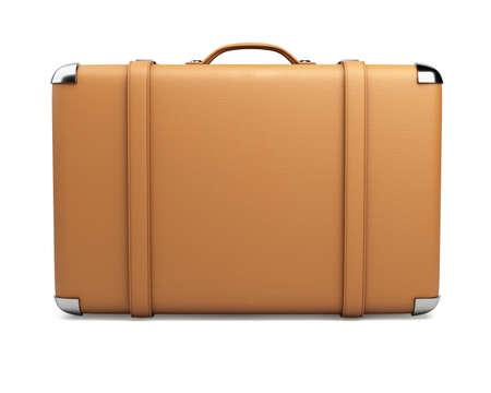 Leather suitcase isolated on white background.