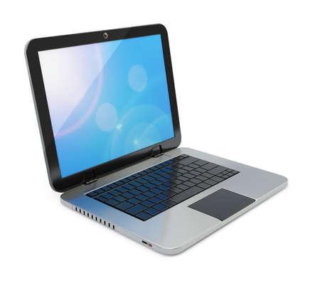 monitor de computadora: Computadora portátil moderna aislado sobre fondo blanco.