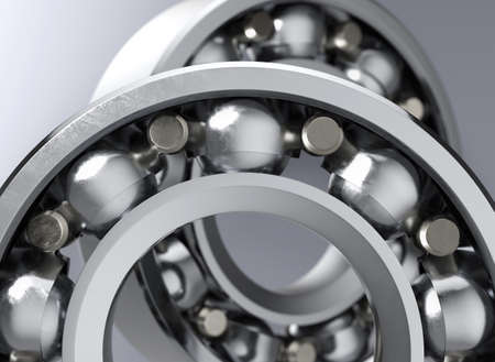 Closeup of ball bearing part on grey background with DOF. 3d render.