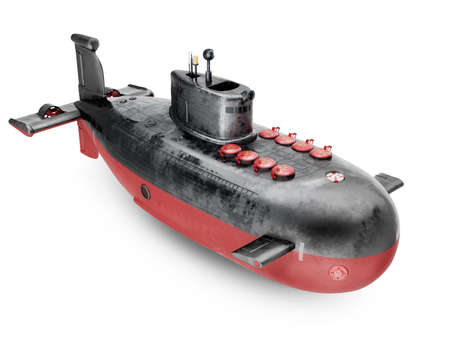 Nuclear submarine isolated on white background. Semi-cartoon style. 3d render