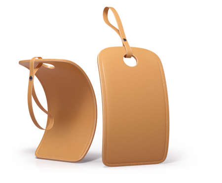 Two different bended leather hang tags on white background. 3d render. Imagens