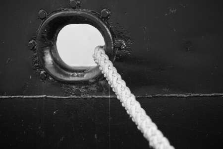 Marine rope in the hole board ship photo