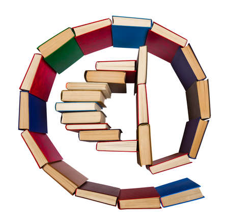 Alphabet made out of old books,@ symbol