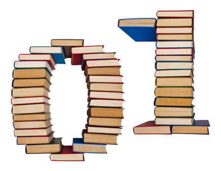 Alphabet made out of old books, figures 0 and 1 Stock Photo