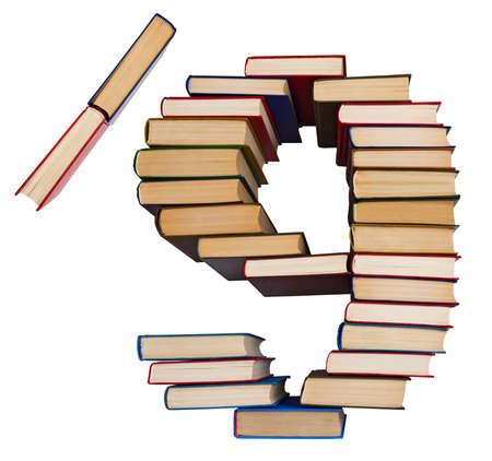 Alphabet made out of old books, figures 9 and slash