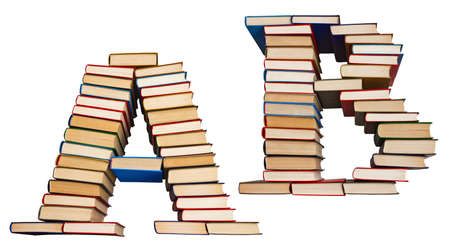 Alphabet made out of old books, letters A and B