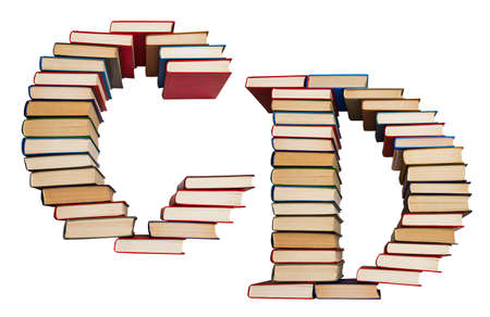 Alphabet made out of old books, letters C and D Stock Photo