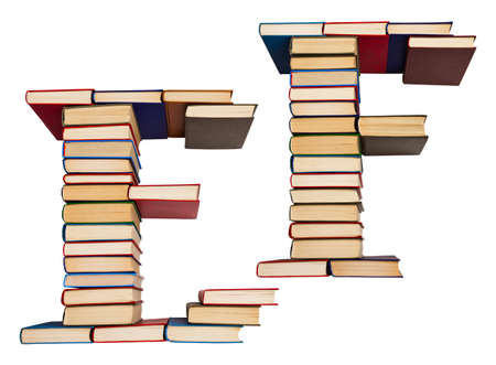 Alphabet made out of old books, letters E and F