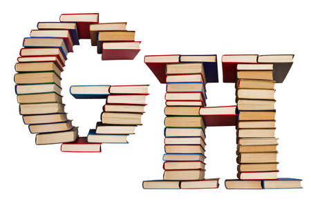Alphabet made out of old books, letters G and H