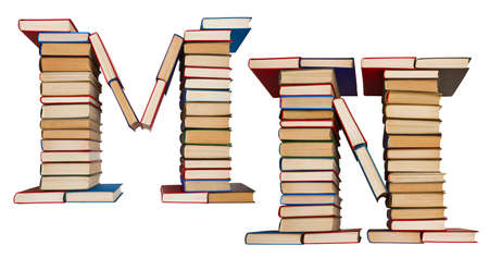 Alphabet made out of old books, letters M and N