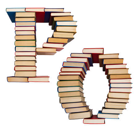 Alphabet made out of old books, letters P and O