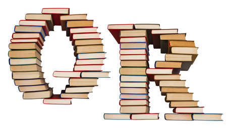 Alphabet made out of old books, letters Q and R Stock Photo